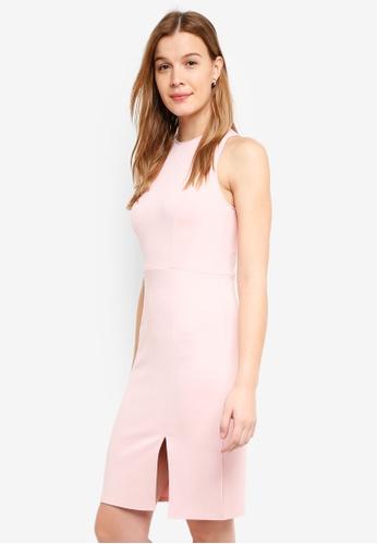ZALORA BASICS pink Halter Midi Dress 5F4F5AACDA6DB3GS_1