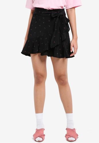 TOPSHOP black Petite Heart Ruffle Skirt 5A047AA9F84D01GS_1