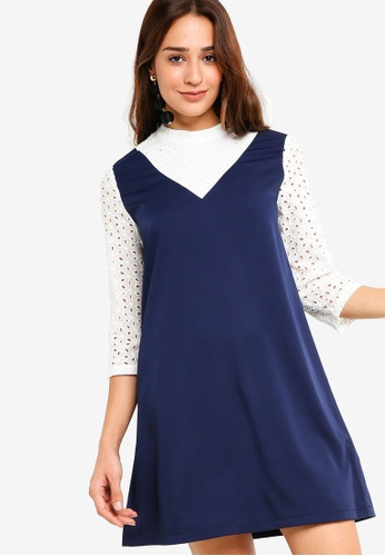 ZALORA white and navy Dungaree Dress with Eyelet Details CEA73AA8383105GS_1