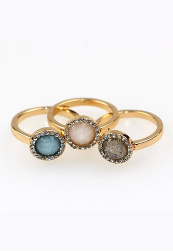 Kimberley silver Kimberley Stone Encrusted Stacking Ring Set in Gold KI026AC67DZKPH_1