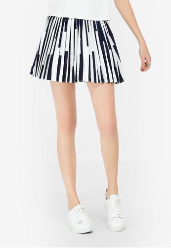 Hopeshow navy Pleated Striped Mini Skirt 9F178AA76036F2GS_1