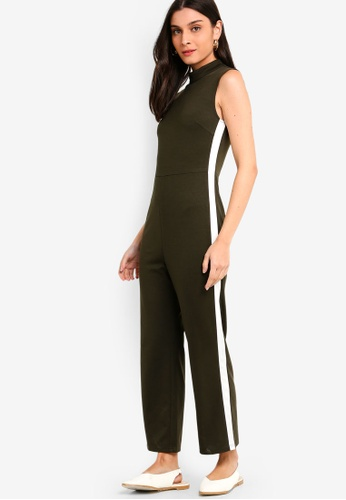 ZALORA white and green Jumpsuit With Side Trims 0CD3DAA4D960D2GS_1