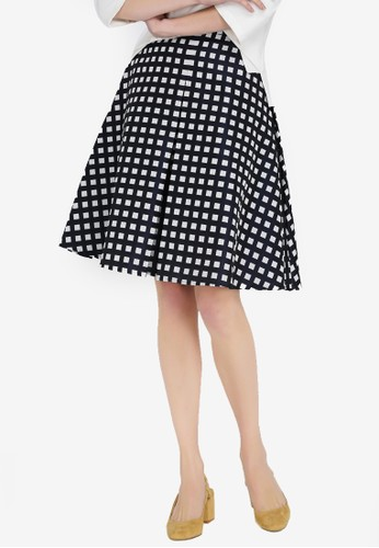 Hopeshow black and multi Checkered Skirt 538B5AABF89111GS_1