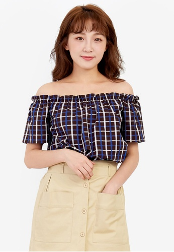 752d9cbfbd07c9 Shop Tokichoi Check Print Off-Shoulder Top Online on ZALORA ...