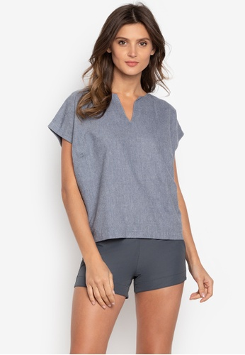Courier grey Chambray Vneck-Short Sleeves Blouse D78BDAA49693D7GS_1