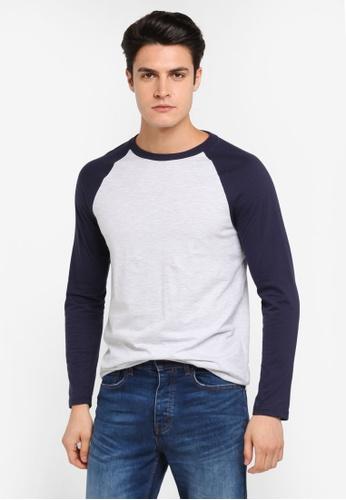 Burton Menswear London grey Navy And Frost Grey Long Sleeve Longline Raglan T-Shirt BU964AA0T1HRMY_1