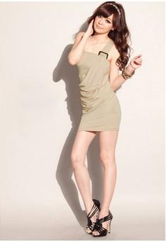 Slash Neck Solid Bodycon Dress
