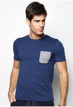 Men's Short Sleeved Crew Neck Tee with Contrast Pocket