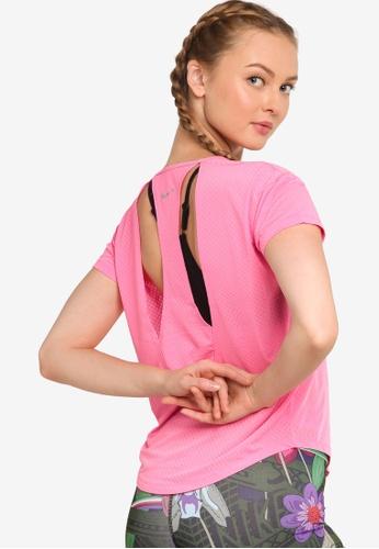 Nike pink Women's Breathe Short-Sleeve Top C04F0AAE1B0C2BGS_1