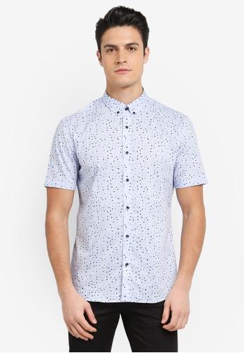 G2000 blue Irregular Dot Print Short Sleeve Shirt 53219AA2226AD8GS_1
