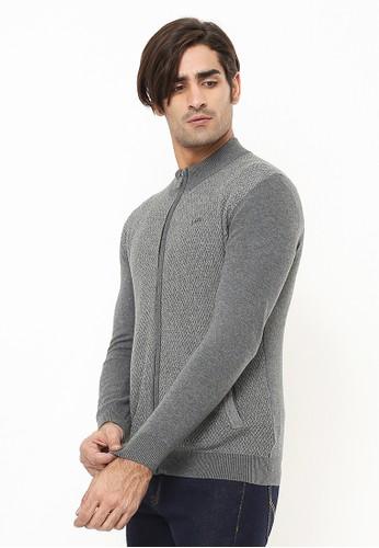 LGS grey Body Fit - Sweater Pria - Corak Penuh - Full Zipper - Abu 3AE59AAC71BFC4GS_1