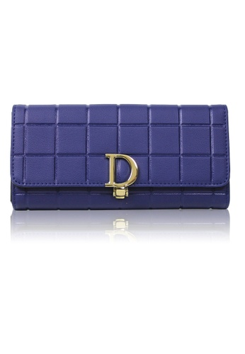 Dazz blue Calf Leather Cube D Wallet - Blue  DA408AC0RA20MY_1