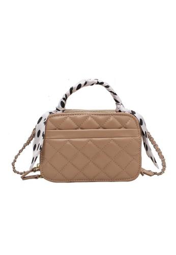 Lara beige Women's Rhombic Embossed Leather Zipper Chain Cross-body Bag - Khaki 6D0D7ACFEE2E92GS_1