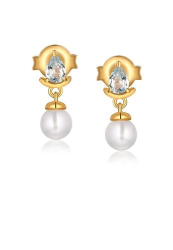SUNSET 金色 Premium 9K Plate Gold  Pearl Earring DC100AC53F5439GS_1