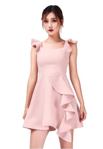 Urban Outlier pink Ruffle Strap Mini Dress 372FDAA0AEEC17GS_1