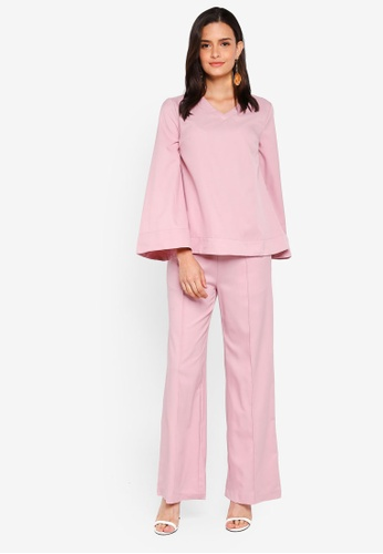 Lubna pink V-Neck Co-Ord Set 2D670AAF30A91BGS_1