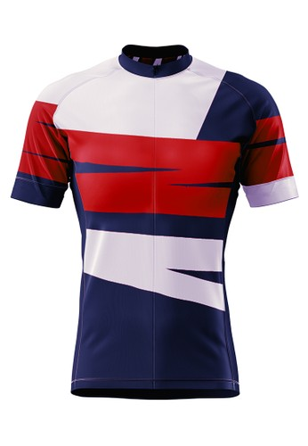 Trijee red and grey and navy Trijee Landa Unisex Cycling Jersey - Brown Grey F40CFAAABB8610GS_1