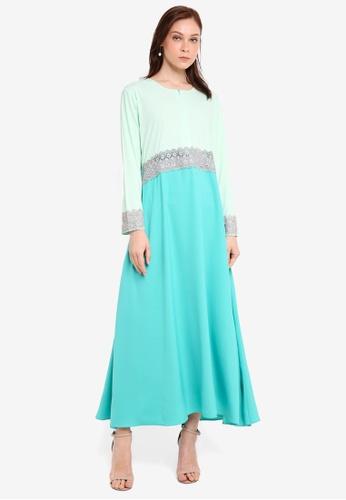 Aqeela Muslimah Wear green and blue Empire Lace Jubah 29D3CAA2C47DA0GS_1