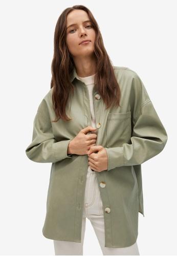 Mango green Oversize Leather-Effect Overshirt F4C30AA5234C94GS_1