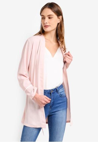 ZALORA BASICS pink Basic Self Tie Kimono E7925AA52D64A0GS_1