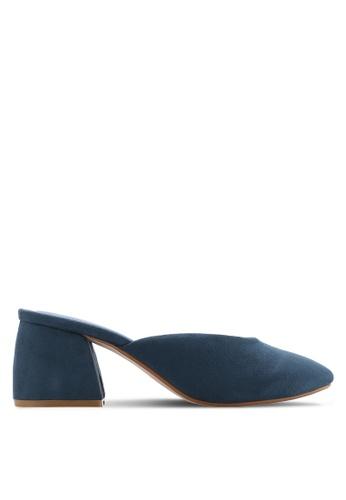 ZALORA blue Faux Suede Mid Heel Mules DD112SH6A1C19DGS_1