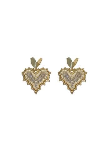 Sunnydaysweety gold Shiny heart  Earrings CA060307 CA6B7AC49F642DGS_1