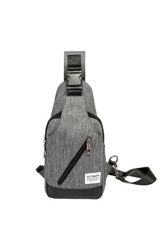 Lara grey Plain Zipper Cross Body Bag - Grey 23EF1AC2E0B5E7GS_1