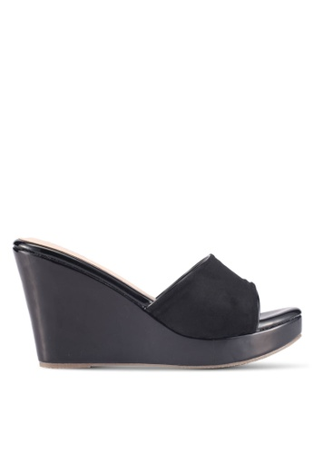 Bata black Bata Wedge Sandals 69EA0SH5784B74GS_1