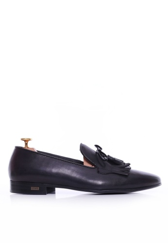 Zeve Shoes black Zeve Shoes Loafer Slipper - Black Grey With Fringe Tassel (Hand Painted Patina 2D158SH3C8EA98GS_1