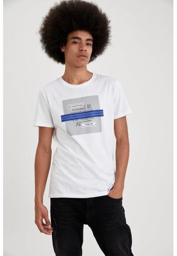 DeFacto white Short Sleeve Round Neck Cotton Printed T-Shirt C12D7AA20BA303GS_1