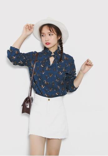 Shopsfashion blue Floral Printed Blouse SH656AA14YQJSG_1
