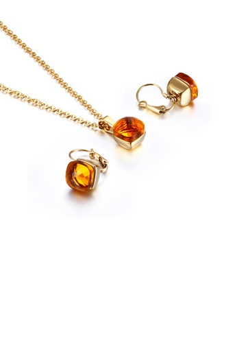 Glamorousky orange Fashion and Simple Plated Gold Geometric Square 316L Stainless Steel Necklace and Earrings Set with Orange Cubic Zirconia 31127ACA33BDE6GS_1