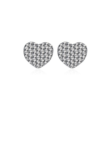 Glamorousky white 925 Sterling Silver Simple Romantic Elegant Fashion Heart Shape Earrings and Ear Studs with Austrian Element Crystal 46640ACFE1865EGS_1