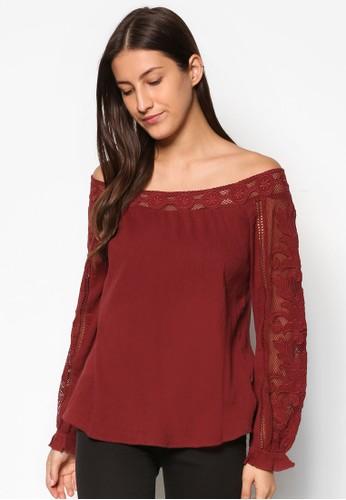 刺繡蕾絲露肩長袖上衣, 服飾, 服esprit retail飾