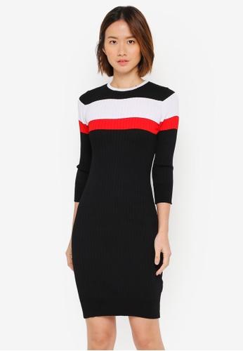 ZALORA black Long Sleeves Striped Bodycon Rib Dress 301FDAA9E8BE5EGS_1