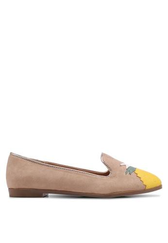 Velvet beige Pineapple Loafers 839D9SH375F665GS_1