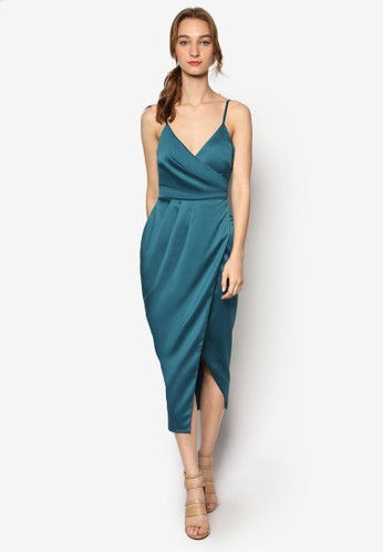 細肩帶裹飾綢緞連身裙,zalora taiwan 時尚購物網鞋子 服飾, 服飾