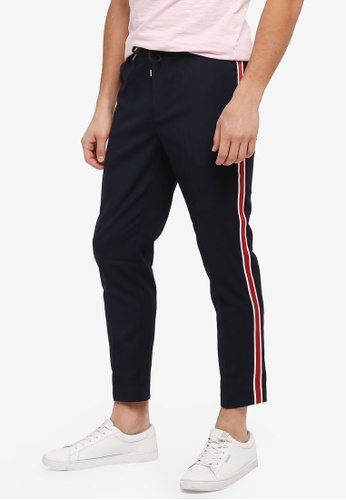 Topman blue Navy Tonal Check Smart Joggers With Side Stripe 8DCE8AA4FB9743GS_1