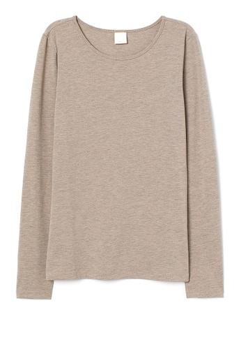 H&M beige Long-Sleeved Top 9169CAAE96187BGS_1