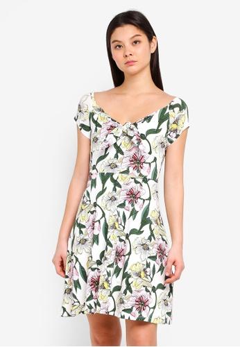 Dorothy Perkins white Ivory Floral Bardot Dress 14C3EAACC6FB2FGS_1