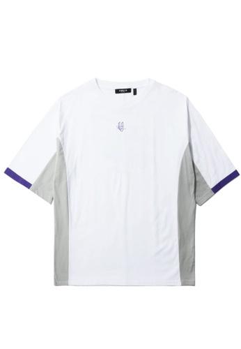Fivecm white Panelled logo tee 3D017AAAE3284FGS_1