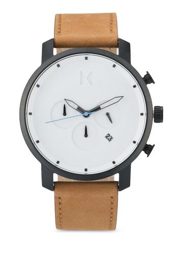 MVMT brown MVMT Chrono 45 Watch - White Black Tan MV187AC0SZQKMY_1