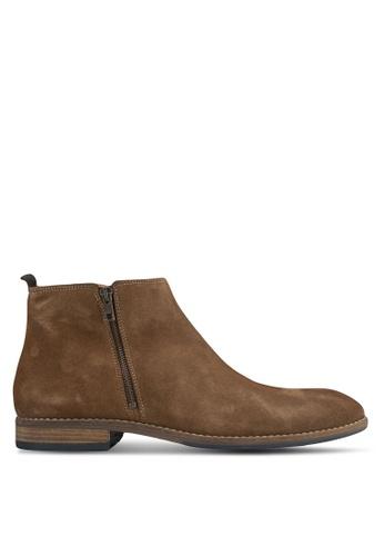 Dune London brown Double Zip Casual Boots DU588SH0SD8ZMY_1