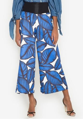Gene M. Gozum blue Colorful Palm Leaves Embossed Square Pants GE062AA0J3I0PH_1