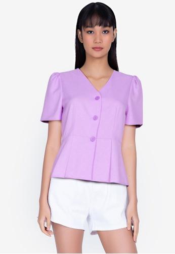 ZALORA BASICS purple V Neck Button Down Peplum Top 207A3AA2B8D002GS_1