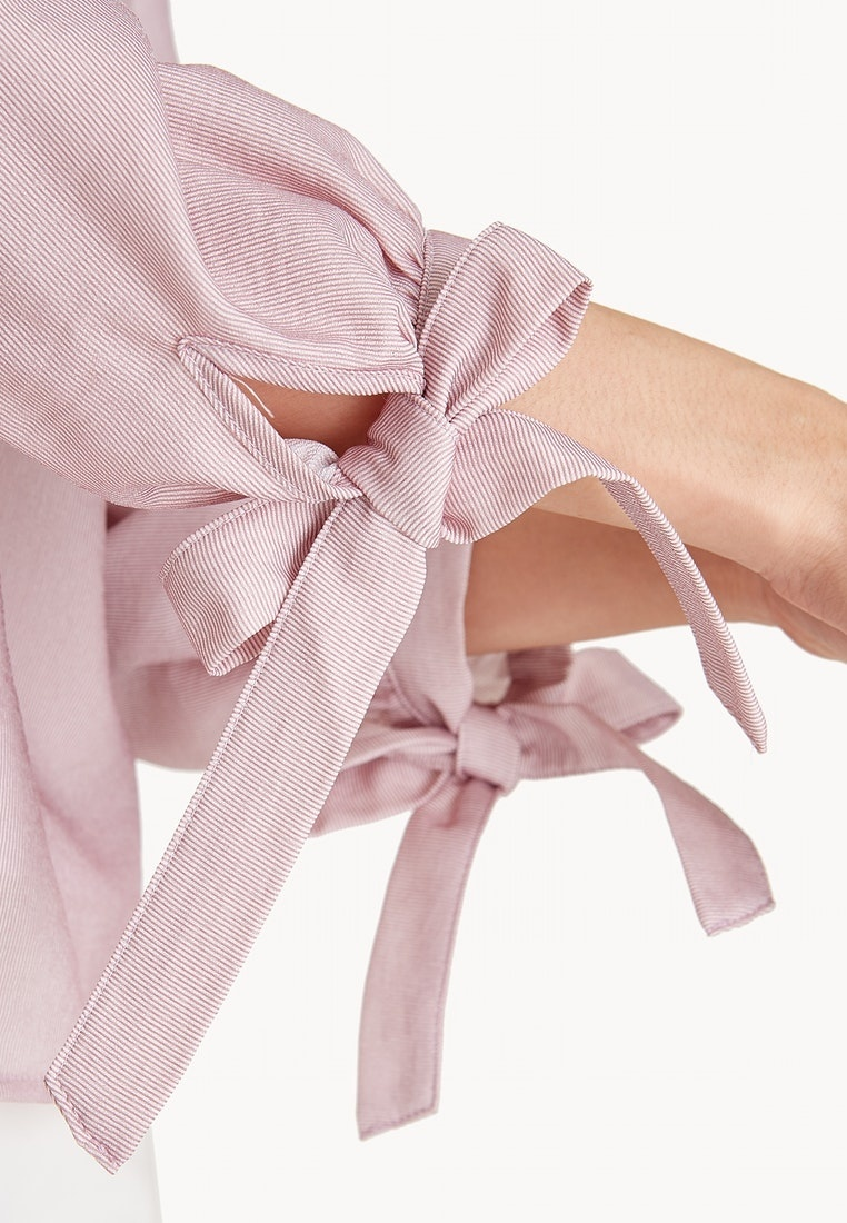 Pink Pomelo Wrist Blouse Sleeve Bishop Pink Tie OrqwYrzE