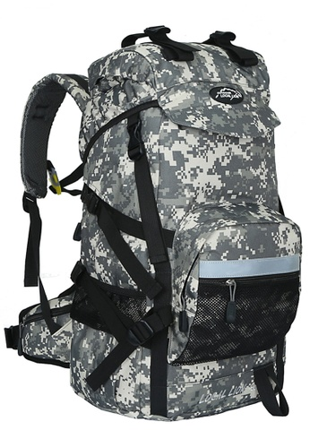Local Lion Local Lion Steel Support Water Resistant Hiking Backpack STEEL 45L (White Camo) D475FAC54D1326GS_1
