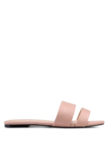 Public Desire pink Edie Double Strap Sliders A9A6DSH19DA5C3GS_1