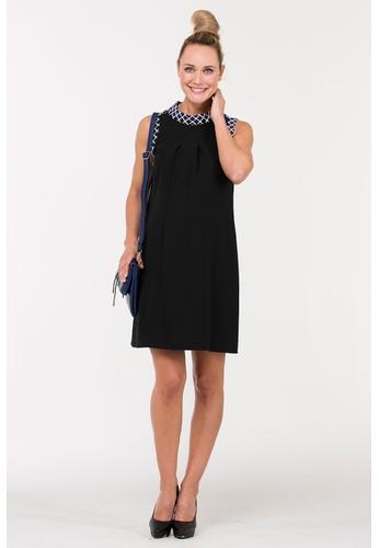 Bove by Spring Maternity black Woven Sleeveless Bichette Checkered Collar Dress IDN5001 SP010AA26GLDSG_1