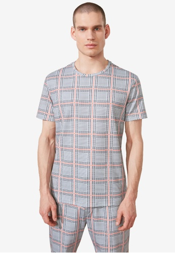 Trendyol grey Regular Fit Checkered Print T-Shirt BEBEFAA0A3CC14GS_1